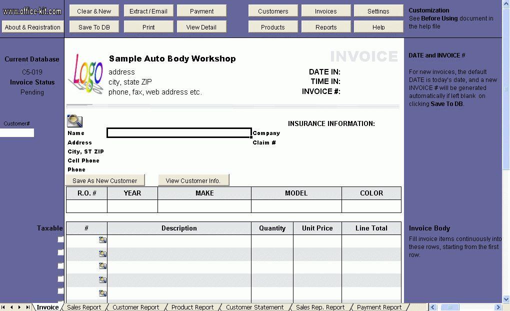 Auto Repair Invoice Template (C5-019) - Excel Invoice Manager