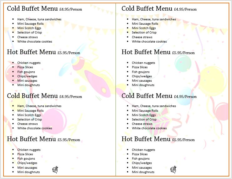 All Purpose Party Menu Template – Microsoft Word Templates