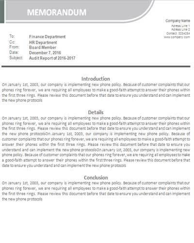 Download Free Business Memo Format and Samples - Template99