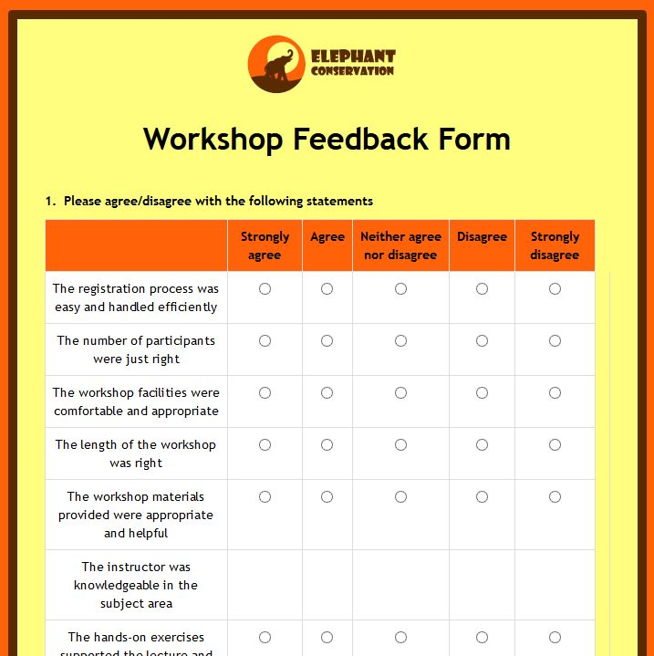 Event Feedback Form Template