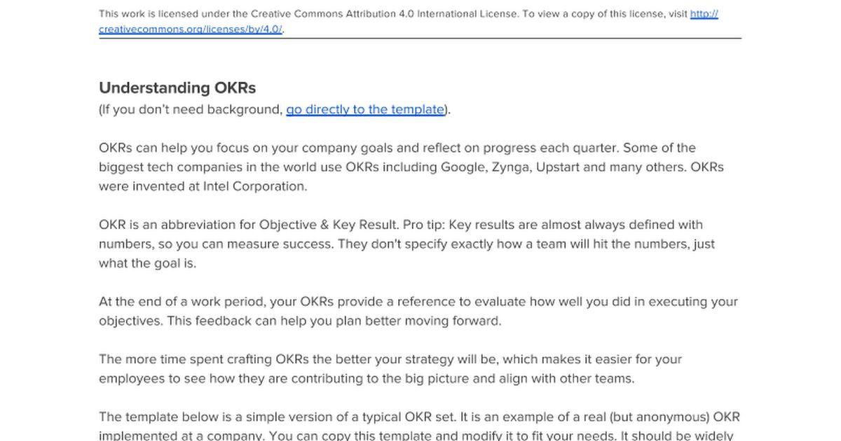 Startup OKRs Template - Google Docs