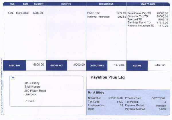 Payslips with Employee Address
