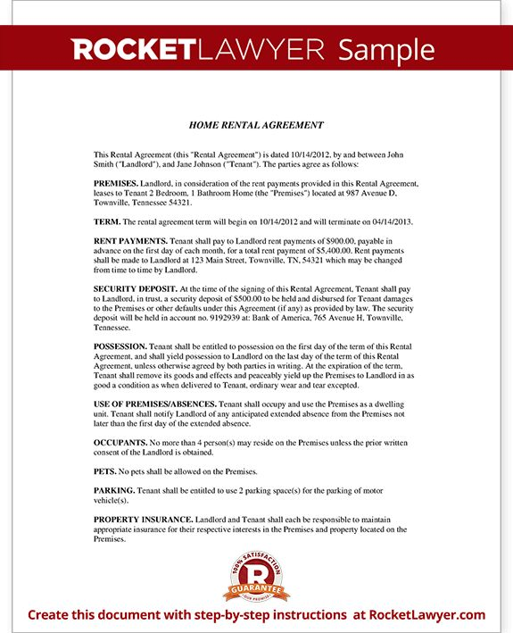 Home Rental Agreement - House Lease Contract Form Template
