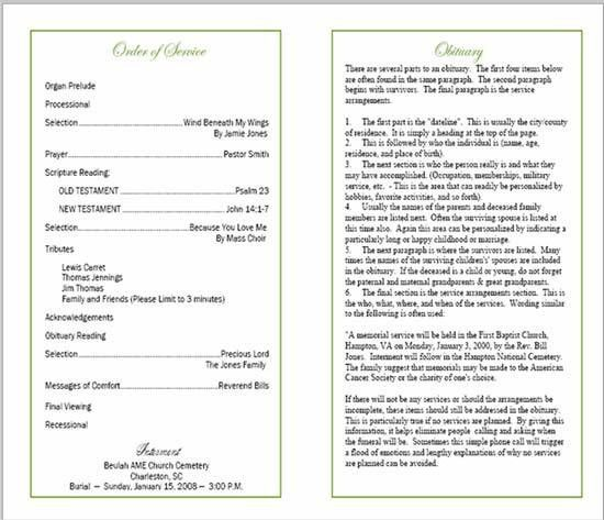 Sample Funeral Program | Memorial Booklet Samples | Funeral Programs