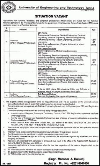 UET Taxila / Chakwal Jobs 2015 September / October Application ...