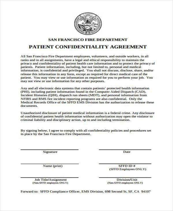 Medical Confidentiality Agreement. 400518: Non Disclosure .