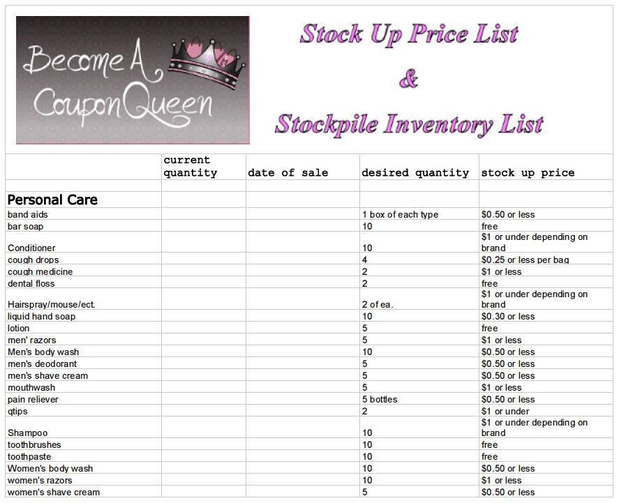 Stock Up Price List and Stockpile Inventory Sheet - Become A ...