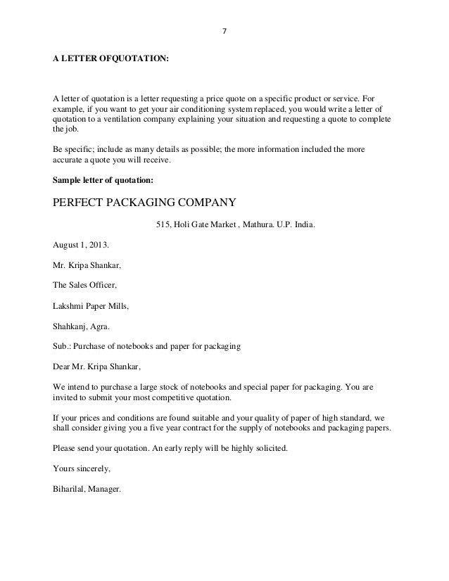 Quotation Letter. Letter Quotation Sample-Price-Quotation-Letter ...