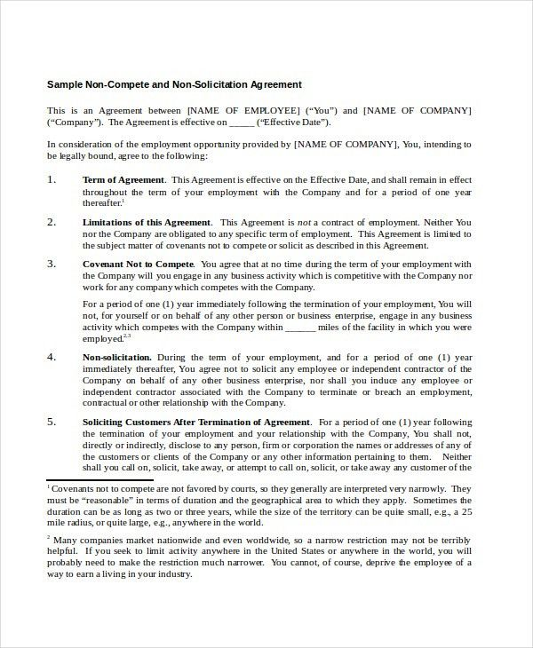 9+ Non Compete Agreements - Free Sample, Example, Format | Free ...