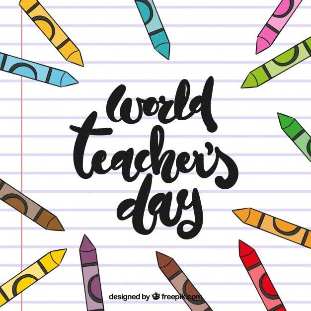 World teacher's day on a lined paper in hand lettering Vector ...