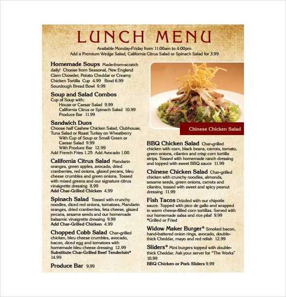 Lunch Menu Template - 33+ Free Word, PDF, PSD, EPS, InDesign ...