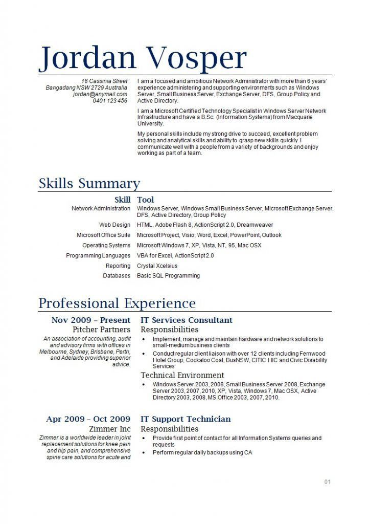how to write a resume australia