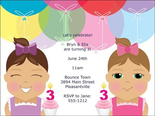 Twin Birthday Party Invitations - vertabox.Com