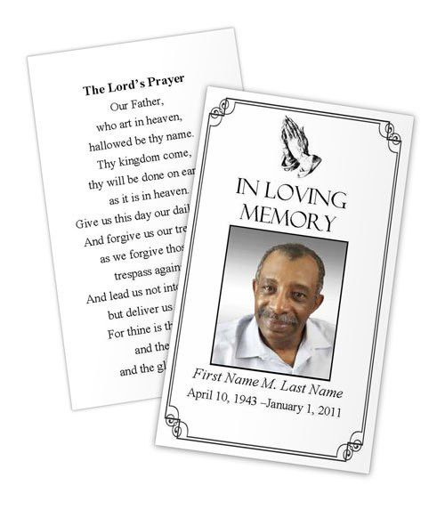 Praying Hands Prayer Card Template | Funeral Card