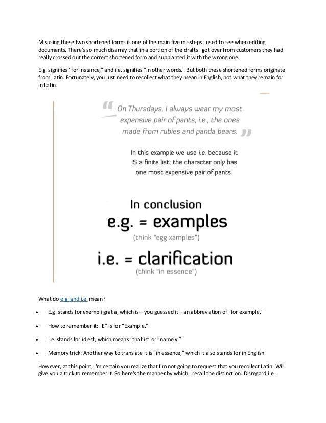 What do e.g. and i.e. mean?