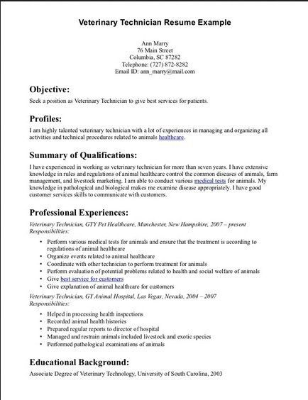 Neoteric Design Inspiration Veterinary Technician Resume 1 ...