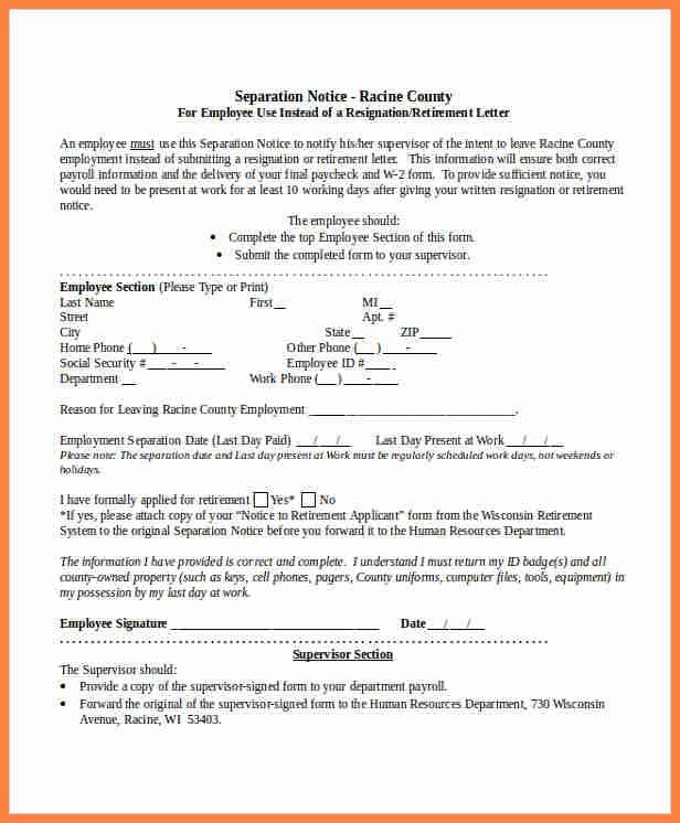 Employee Separation Form Template. employment termination form ...