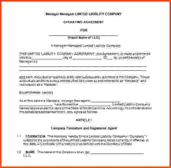 Llc Operating Agreement Template.Manager Managed LLC Operating ...