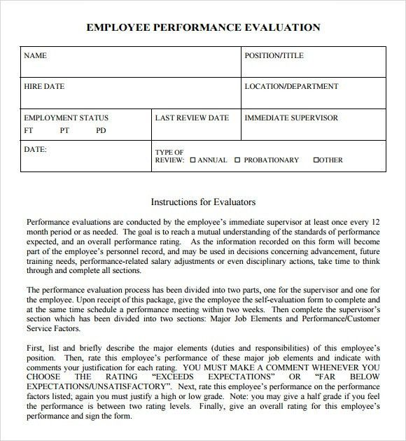 Performance Sample Evaluation. Employee Performance Review | Hr ...