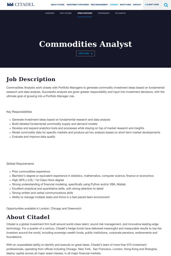 Commodities Analyst job at Citadel in London, IN | Tapwage Job Search