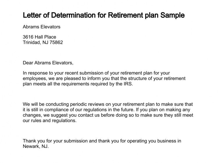 Letter of Determination