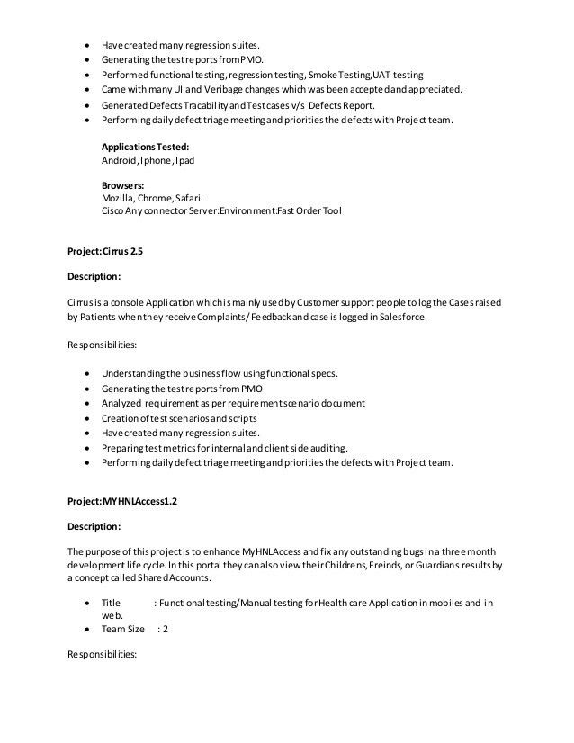 Salesforce Testing Resume