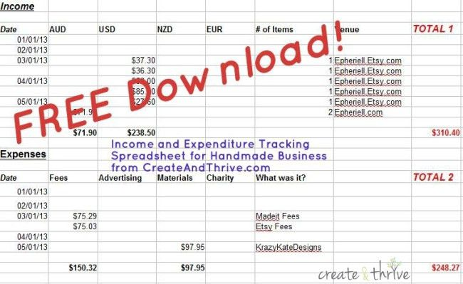free downloadable income expenditure spreadsheet – Create & Thrive