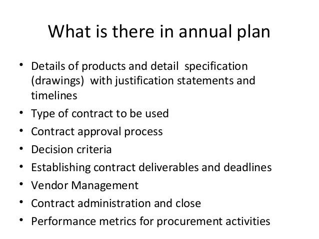 procurement plan details