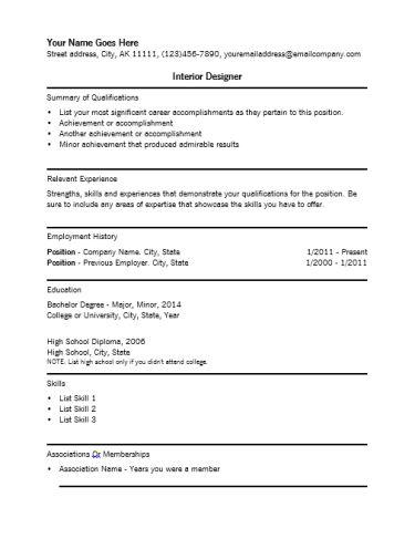 resume. interior design job description regard to house interior ...