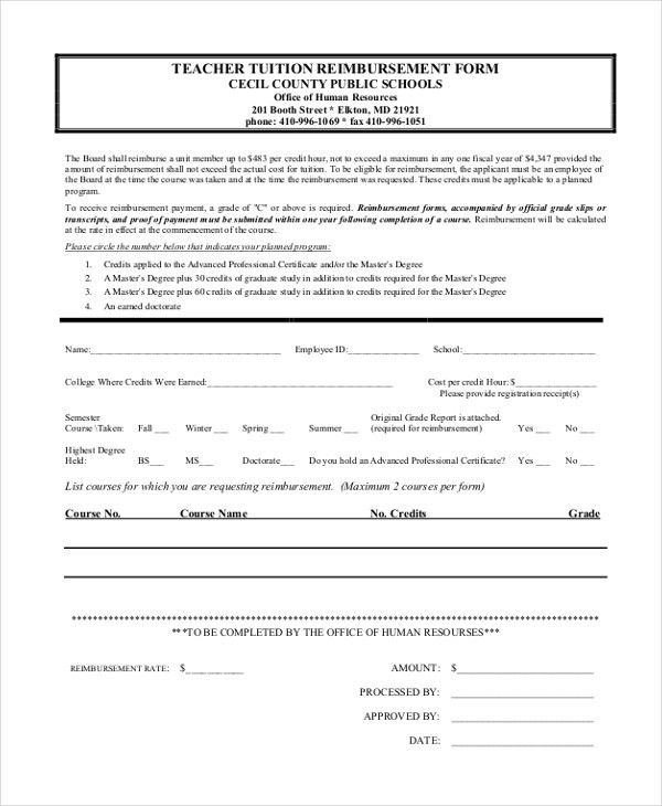 Sample Tuition Reimbursement Form - 8+ Free documents in PDF