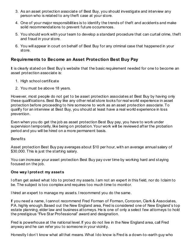 Overview of Asset Protection Best Buy Pay