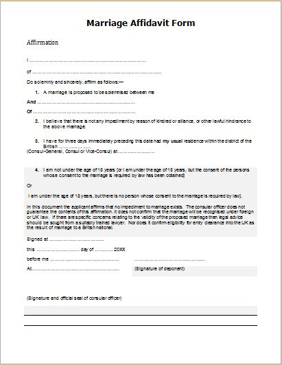 Official Affidavit Form Templates for MS WORD | Document Hub