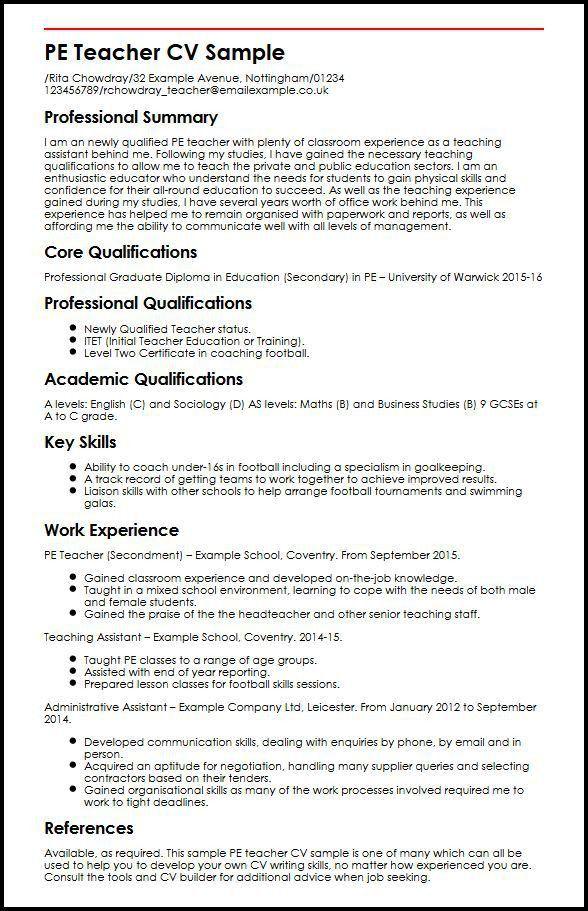 PE Teacher CV Sample | MyperfectCV