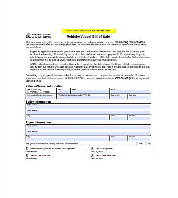 Watercraft Bill of Sale – 8+ Free Word, Excel, PDF Format Download ...