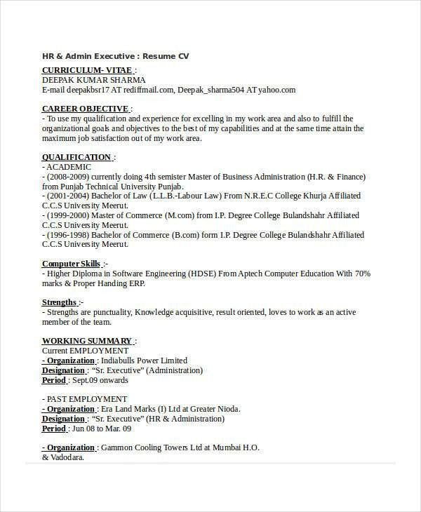 Resume hr executive india