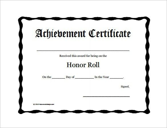 9+ Printable Honor Roll Certificate Templates – Free Word, PDF ...