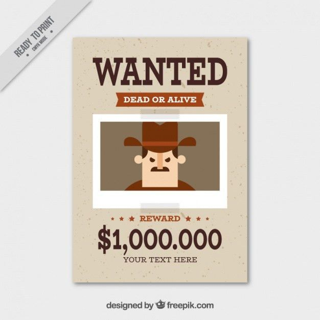 Wanted poster with flat criminal and great reward Vector | Free ...