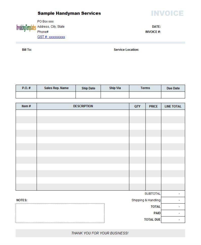 Download Free Invoice Template Australia No Gst   rabitah.net