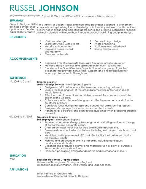 Graphic Designer CV Example for Marketing | LiveCareer