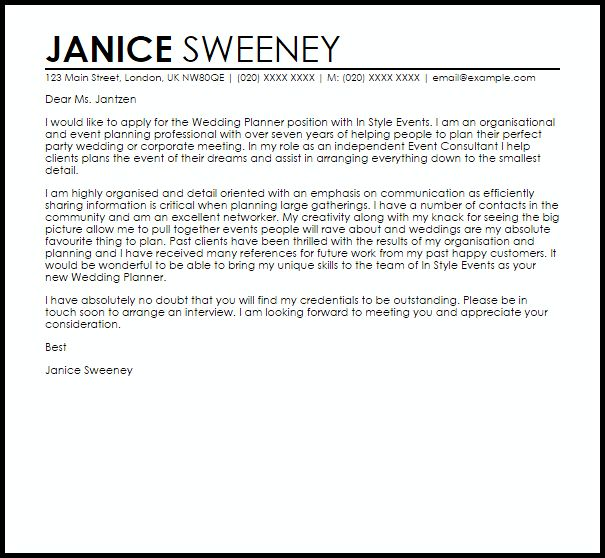 Wedding Planner Cover Letter Sample   LiveCareer