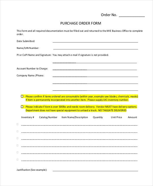 Sample Purchase Form - 17+ Free Documents in PDF