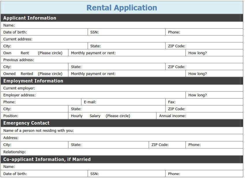 Free Printable Rental Application Template | Tags: printable pdf ...