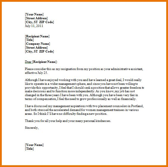 Letter Format In Word.resignation Letter.png | Scope Of Work Template