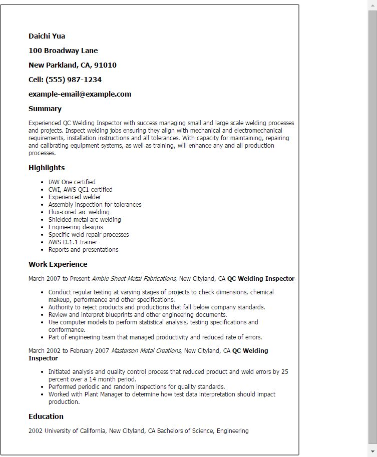 Prissy Design Quality Inspector Resume 9 QA Manager Resume ...