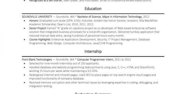 Example Entry Level Programmer Resume Science Resume Template ...