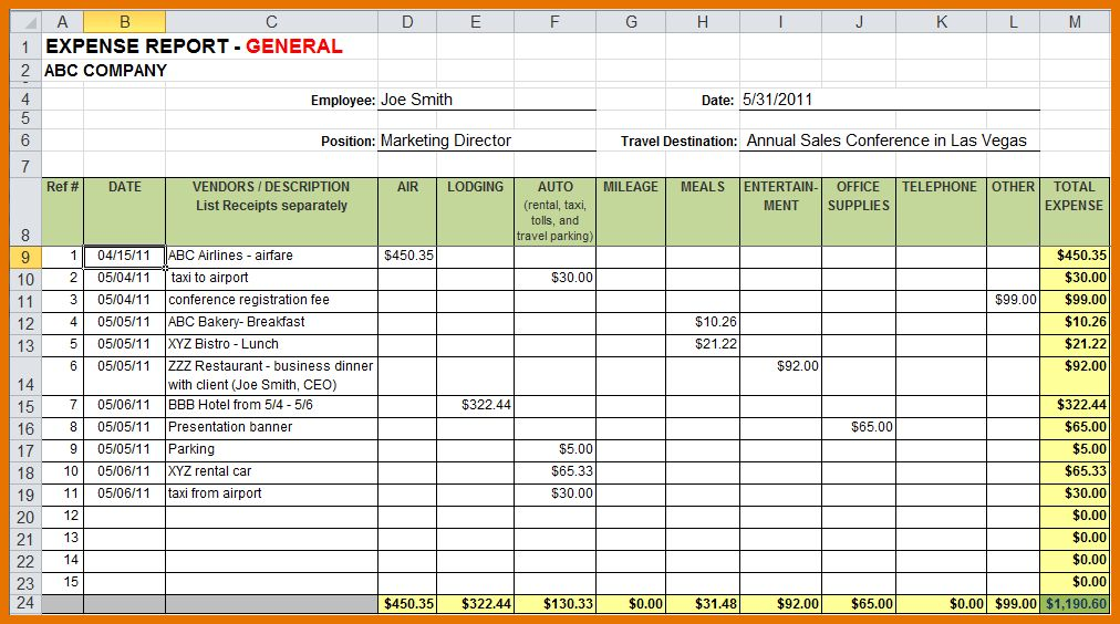 8+ excel expense report template | Itinerary Template Sample