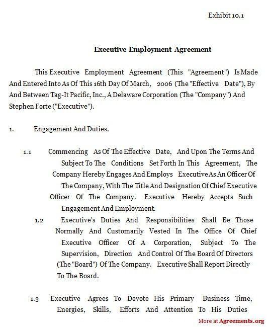 Executive Employment Agreement,Sample Executive Employment ...