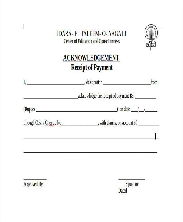 Acknowledgement Receipt Templates - 9+ Free Word, PDF Format ...