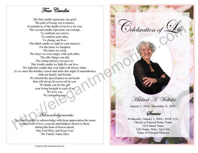 Celebration of Life Service Program Sample | Samples of Memorial ...