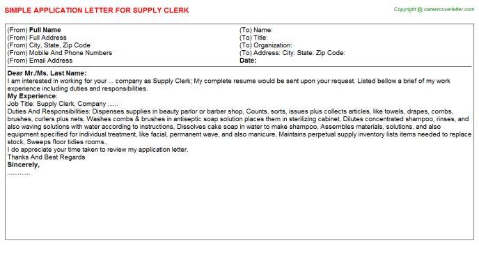 Supply Clerk Job Title Docs
